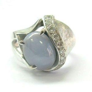 Jewelry - Fine Blue Star Sapphire & Diamond White Gold Ring